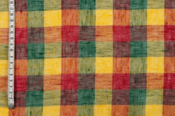 Colourfull checked transparent linen fabric 2