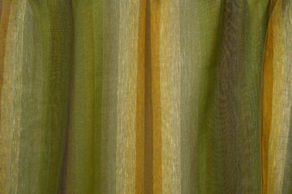 Transparent green linen fabric in stripes 1