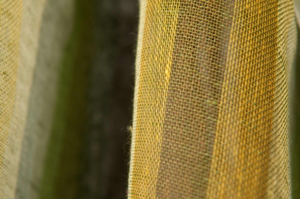 Transparent green linen fabric in stripes 3
