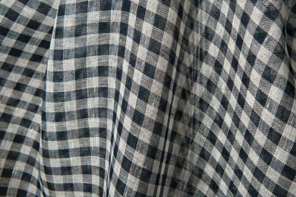 Transparent linen fabric in navy blue and white checks 2