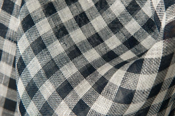 Transparent linen fabric in navy blue and white checks 1