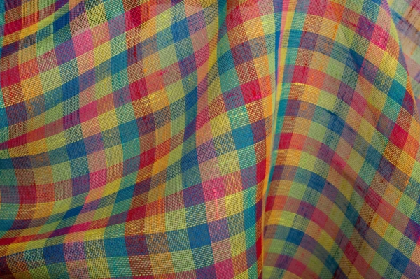 Transparent linen fabric in bright checks 1