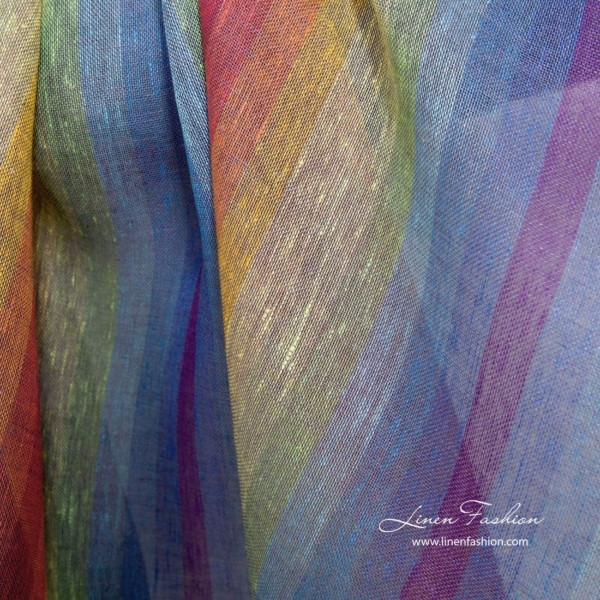 Transparent rainbow linen fabric 1