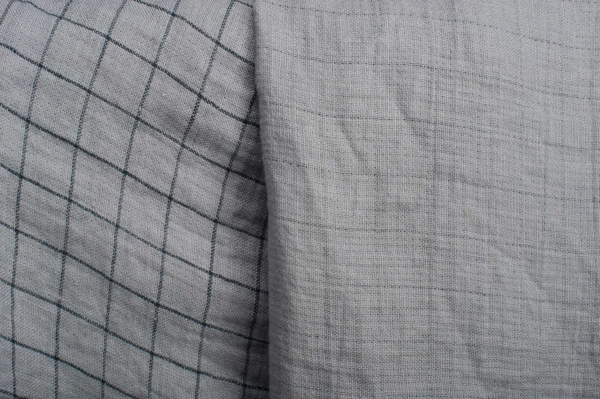Grey checked double- layer linen fabric, washed 2