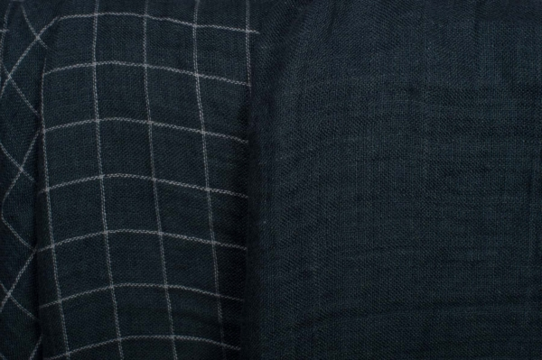 Dark blue checked double-layer linen fabric, washed 2