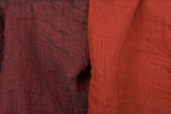 Red washed linen fabric, double-sided 1