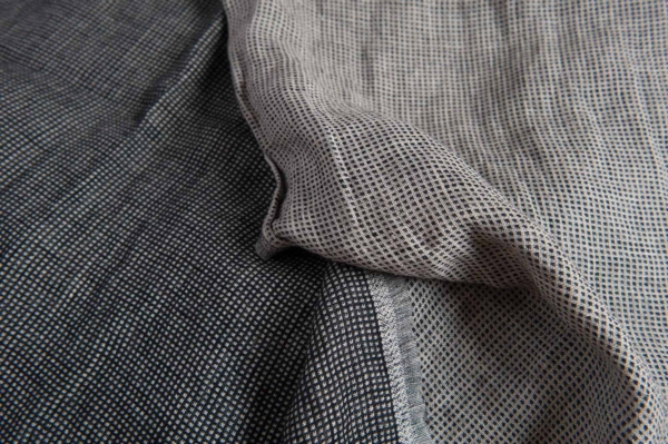 Linen black checked double sided fabric, washed 1
