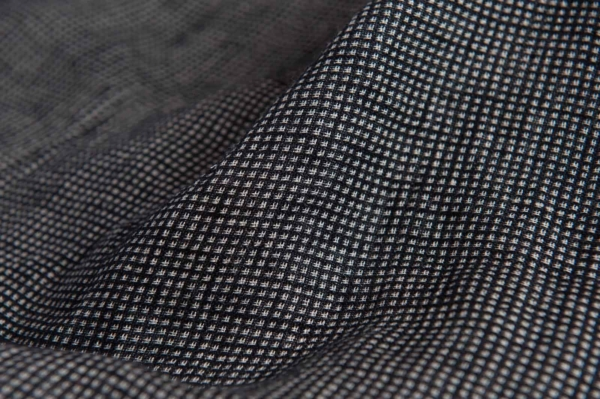 Linen black checked double sided fabric, washed 2
