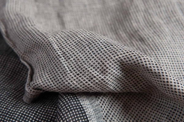Linen black checked double sided fabric, washed 3