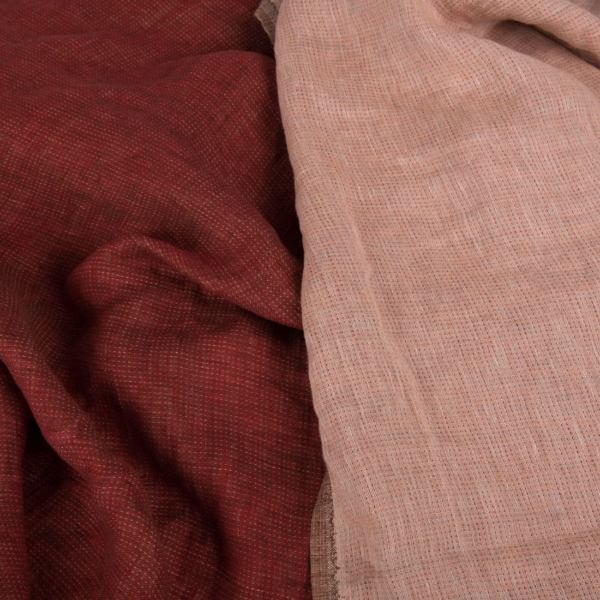Double-sided washed linen fabric in red 1