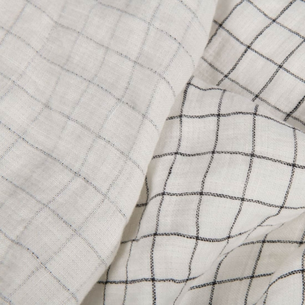 White checked double-layer linen fabric, washed 1