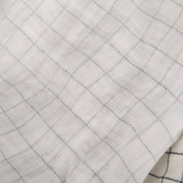 White checked double-layer linen fabric, washed 2