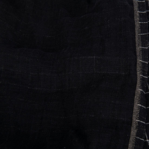 Black checked double- layer linen fabric, washed 2