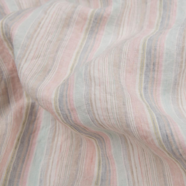 Washed linen fabric in multicoloured stripes 1