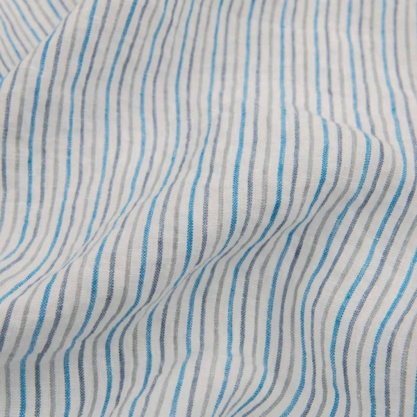 White washed linen fabric in blue stripes 1