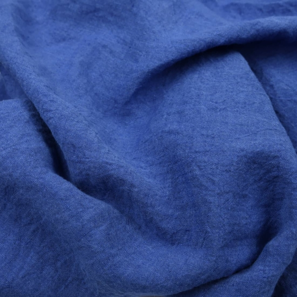 Wide washed linen fabric in royal blue 1