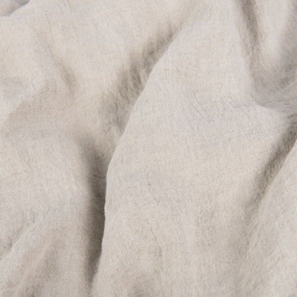 Wide washed linen fabric in light grey 1