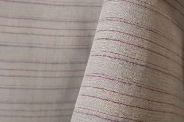 Grey linen fabric in purple stripes 2