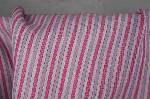 Linen fabric with pink stripes 2