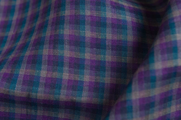 Linen fabric with violet checks 2