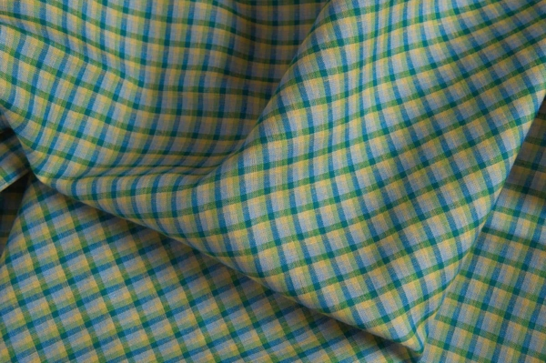 Linen fabric with blue and green checks 1