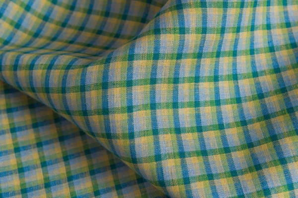 Linen fabric with blue and green checks 2