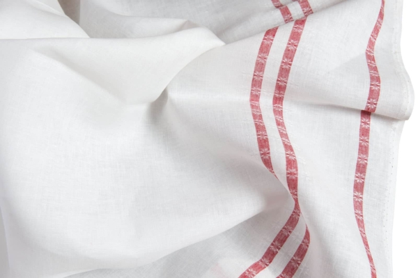 White linen fabric with red lines 1