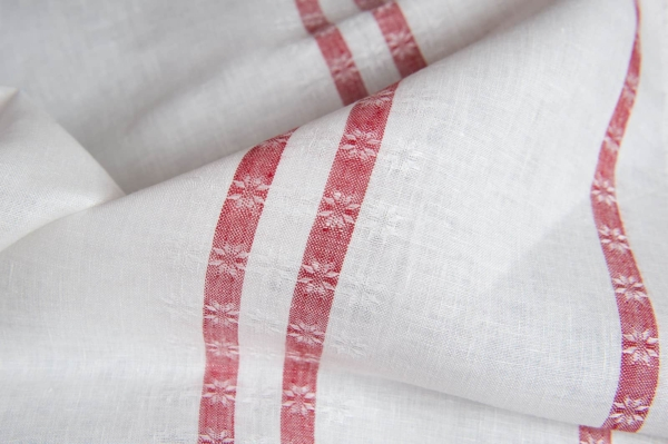 White linen fabric with red lines 2