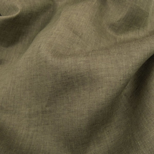 Dark green linen melange fabric 1