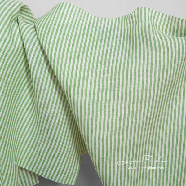 Linen fabric in white and green stripes 1