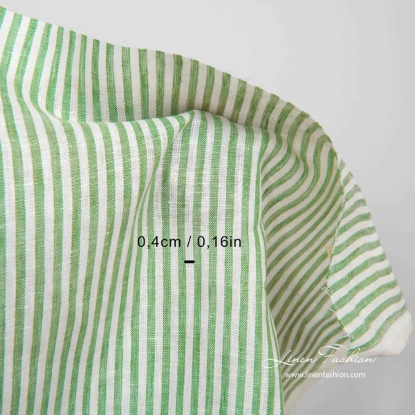 Linen fabric in white and green stripes 3