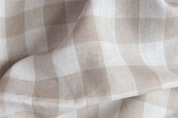 Linen fabric with grey and white checks 1
