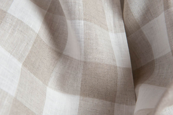 Linen fabric with grey and white checks 2