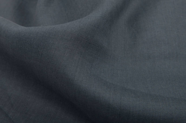Wide dark grey linen fabric 1