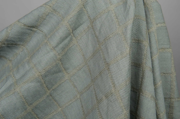 Bluish grey checked linen / cotton fabric, washed 2