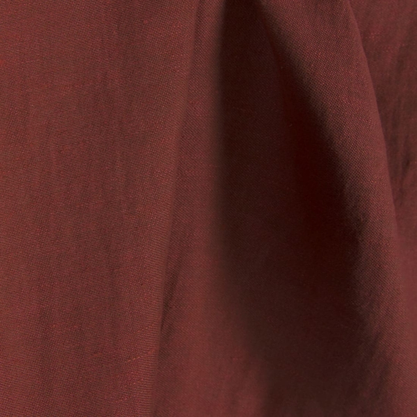 Red brown linen cotton double sided fabric, washed 2