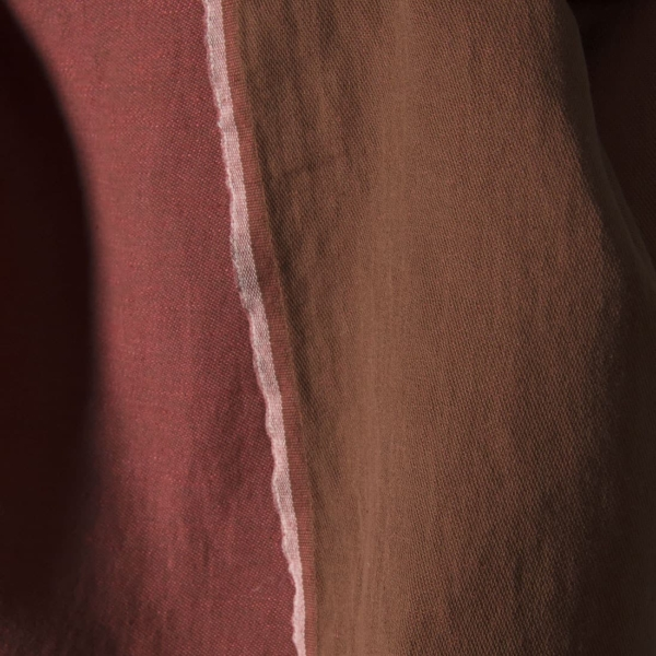 Washed double sided linen fabric in brown red colors