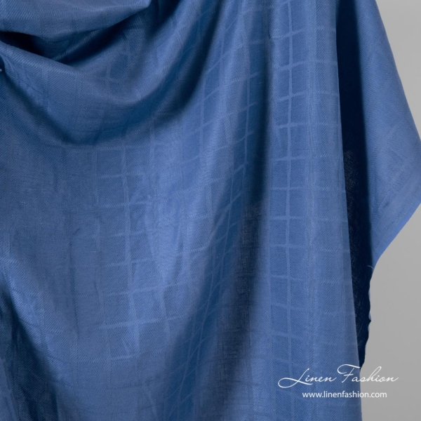 Blue checked linen blend fabric