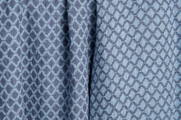 Blue double-sided washed linen fabric in a diamond pattern 1