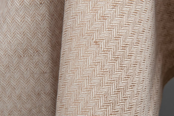 Brown and white linen / cotton fabric in a herringbone pattern 1