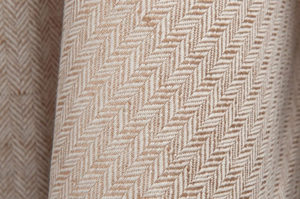 Brown and white linen / cotton fabric in a herringbone pattern 2