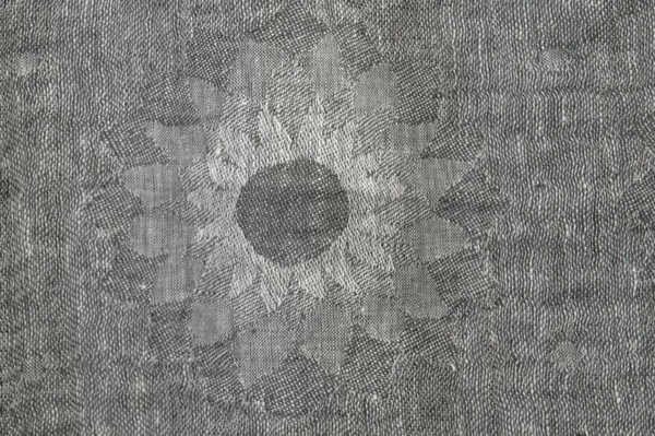 Grey washed linen fabric in a flower pattern 2