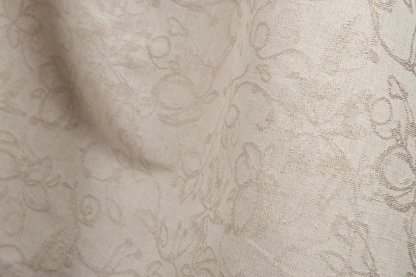 Grey linen / cotton jacquard fabric with flower ornaments 1