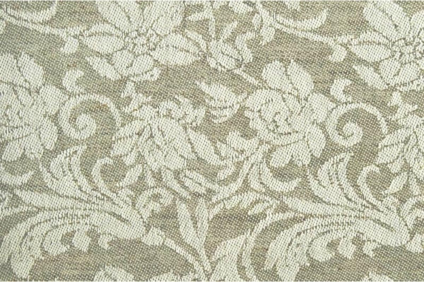 Light grey linen cotton fabric with flower ornaments 1