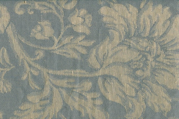Grey linen cotton jacquard fabric with flower ornaments 1