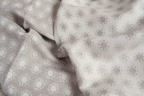 Linen blend jacquard fabric in a sun pattern 1