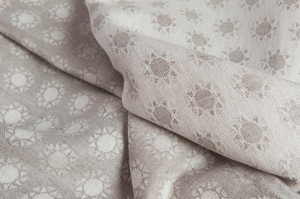 Linen blend jacquard fabric in a sun pattern 2