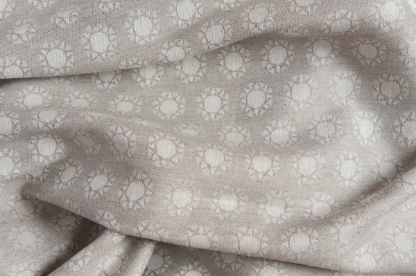 Linen blend jacquard fabric in a sun pattern 3