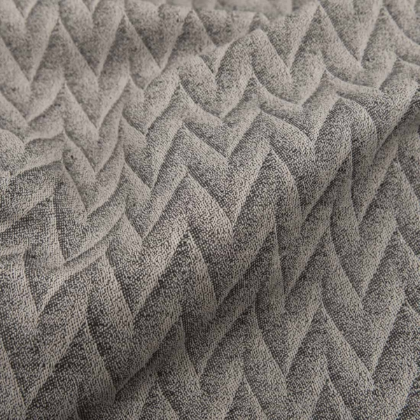 Grey patterned linen cotton fabric 1