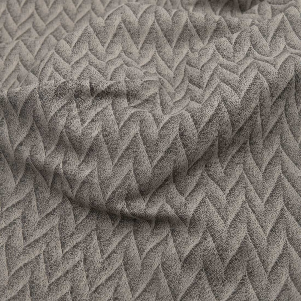 Grey patterned linen cotton fabric 2